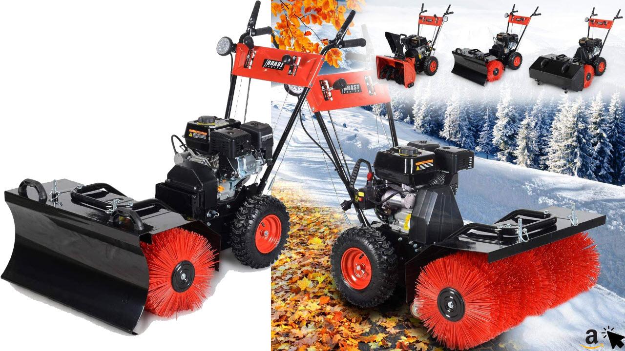 BRAST Benzin Kehrmaschine Schneefräse Schneeschieber 4,8kW, 6,5PS, 80cm Breite Elektrostart Schnellwechsel-System 4 in 1 Gerät