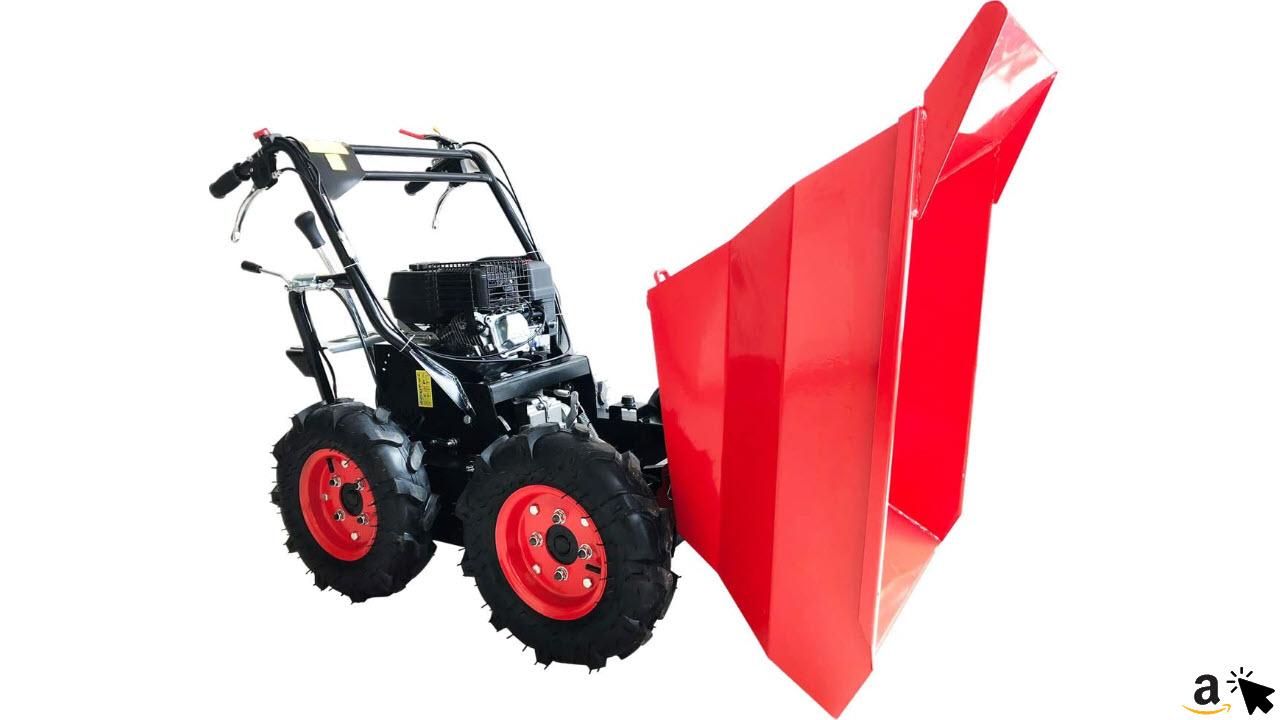 BRAST Benzin Muldenkipper Mini-Dumper Motor-Schubkarre Dumper Radlader 4,8kw 6,5PS Allradantrieb 300 kg Traglast