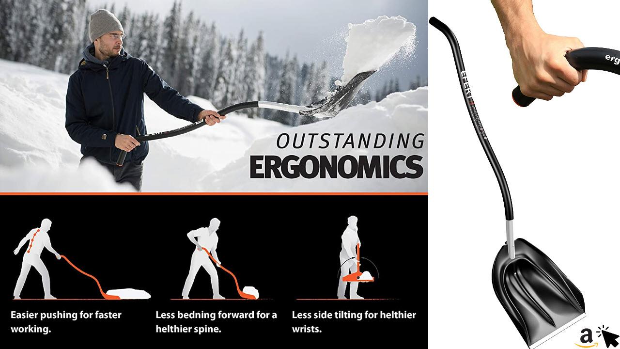 EFEKT ergonomische Schneeschaufel, Eisschaber, Schneeschieber
