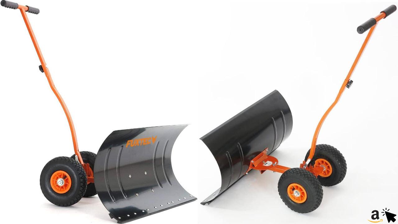 FUXTEC Schneeschaufel auf Rädern FX-SS740, höhenverstellbar - komfortables Schneeräumen, rückenschonender Schneeschieber, Schneeschild 75 cm Arbeitsbreite-Höhe 42 cm, platzsparend da zusammenklappbar