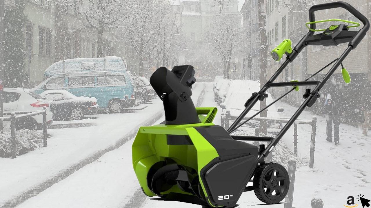 Greenworks Akku-Schneefräse GD40ST, Li-Ion 40V, 51cm Arbeitsbreite, 15cm Räumtiefe, Arbeitszeit bis zu 20 Minuten leistungsstarker brushless Motor ohne Akku und Ladegerät