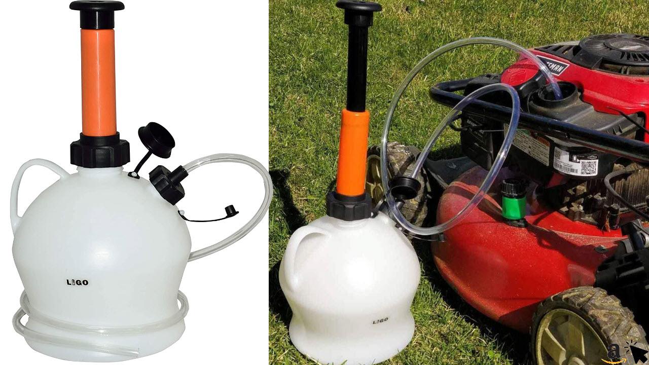 LIGO Absaugpumpe, Ölabsaugpumpe für Rasenmäher inkl. 2 Schläuchen, Trichter & Kunststoff-Behälter, Ölpumpen-Set 4L