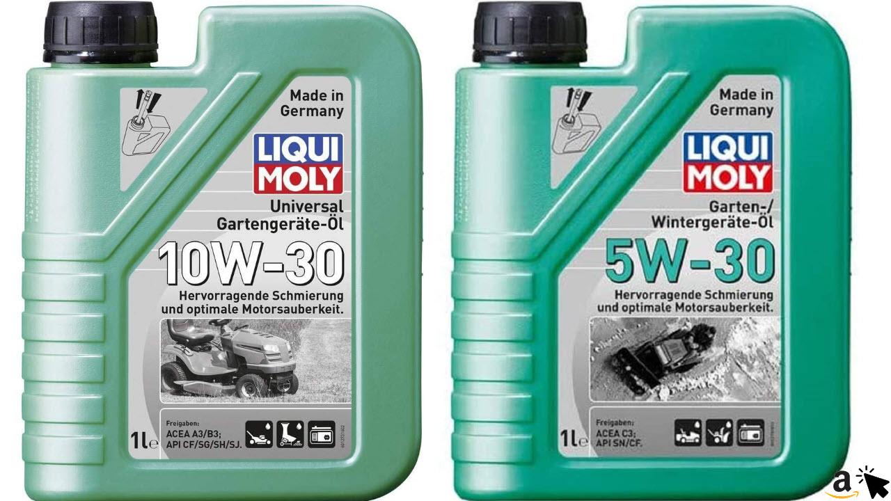 Liqui Moly Universal Gartengeräte-Öl 10 W-30, 1 L & Schneefräsen-Wintergeräte-Öl 5W-30, 1 L