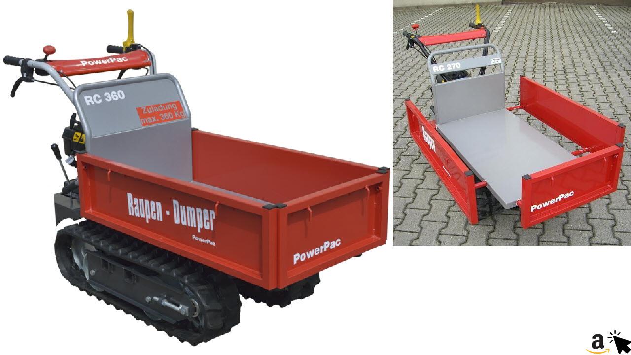 PowerPac RC360 Raupentransporter Raupendumper 4,5 PS Honda-Motor GCV140, max. 360kg Zuladung & 50% Steigung