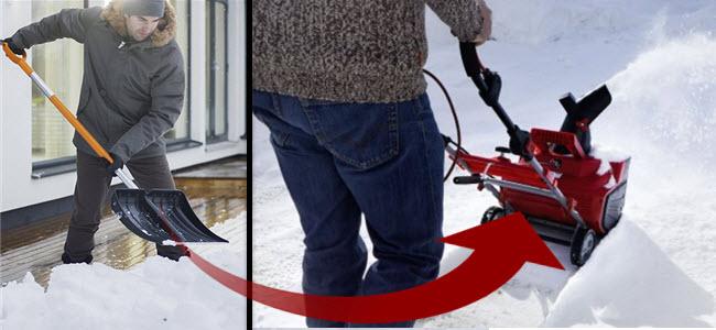 Fiskars Schneeschieber & AL-KO Elektro-Schneefräse im Vergleich