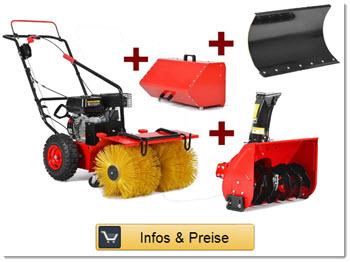Multifunktions Schneefräse, Motorbesen Kehrmaschine und Schneeräumschild